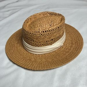 Summer Straw Hat Tan with White Tie